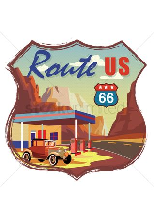 Fuel : Route us 66 road sign