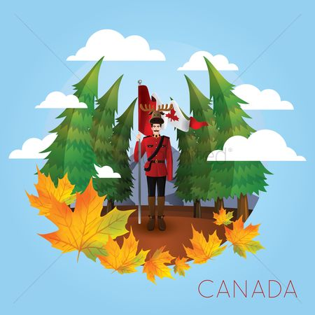 Patriotic : Royal canadian mounted police officer with forest background