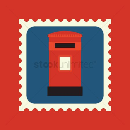 England : Royal mail post box postage stamp