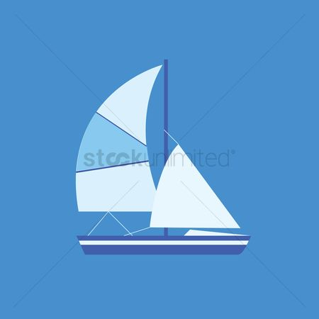 Nautical : Sail boat on blue background