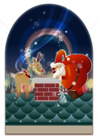 Chimneys : Santa claus and reindeer