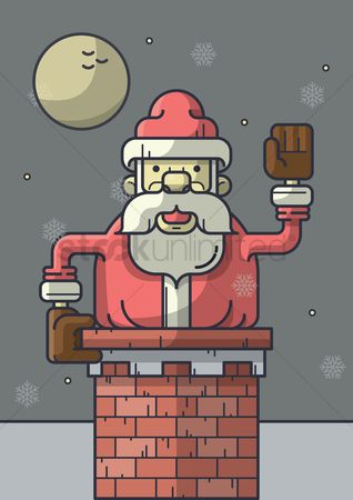 Santa : Santa getting into chimney