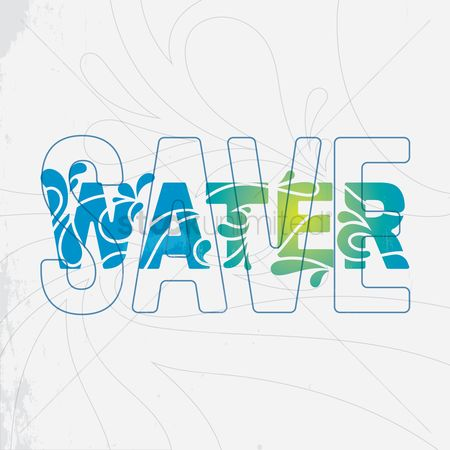 Water drops : Save water text design