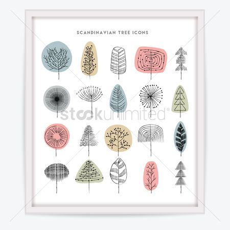 Huge : Scandinavian tree icon collection