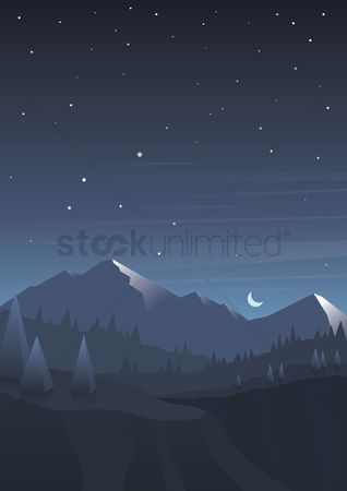 Moon : Scenic mountain wallpaper