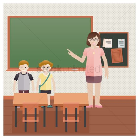 School bag : School teacher with students in classroom
