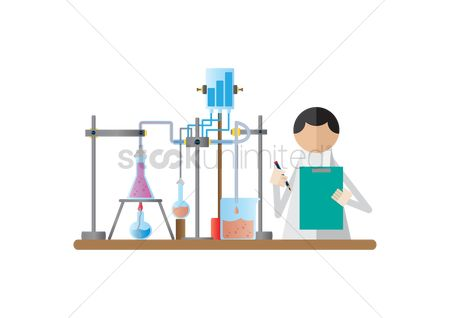 Research : Scientist holding clipboard and pencil in the laboratory
