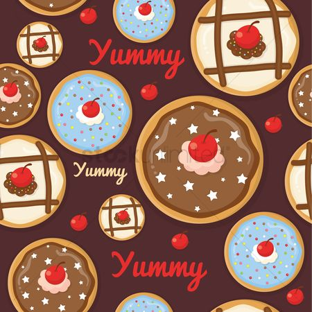 Cherry : Seamless pattern of cupcakes