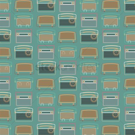 Broadcasting : Seamless pattern of vintage radio