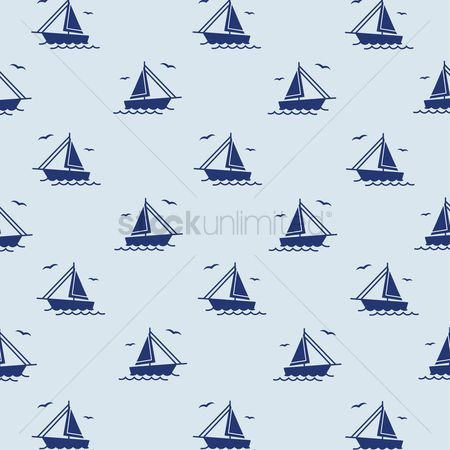 Nautical : Seamless sailing ships pattern