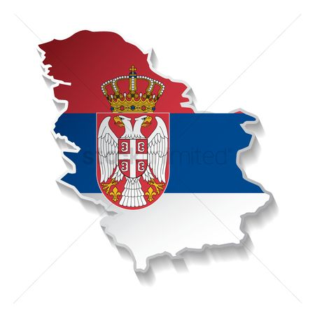 Tricolored : Serbia flag map