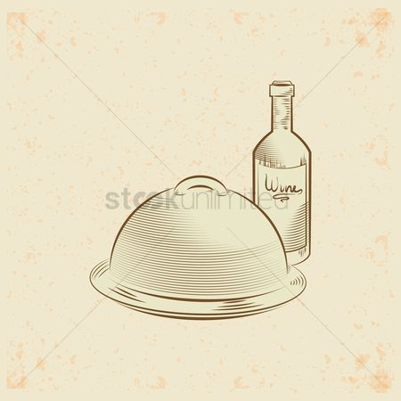 Dine : Serving tray and wine