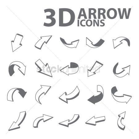 Three dimensional : Set of 3d arrow icons