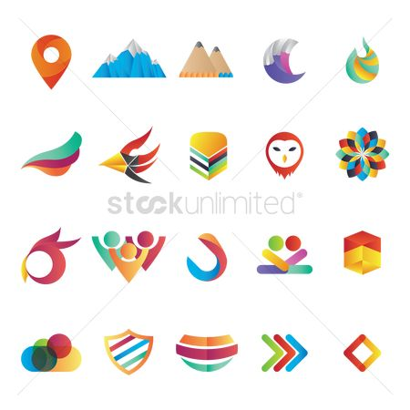 Map pointer : Set of abstract logo elements