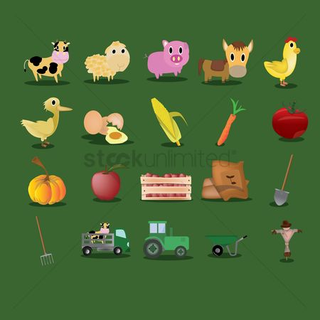 Cow : Set of agricultural icons