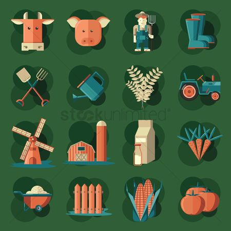 Carrots : Set of agriculture icons