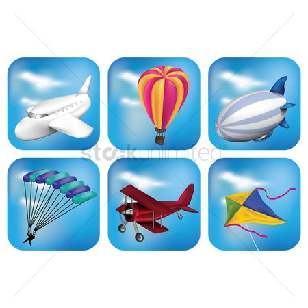 Journeys : Set of air transport icons