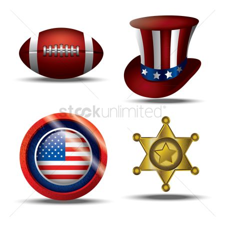 Footballs : Set of american icons