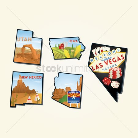 Utah map : Set of american states landmarks