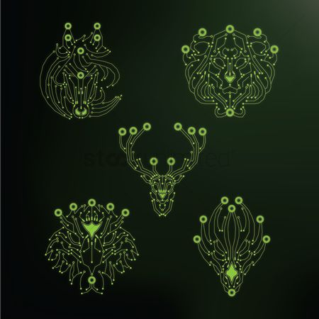 Hardwares : Set of animal heads shaped circuits