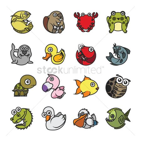 Marine life : Set of animal icons
