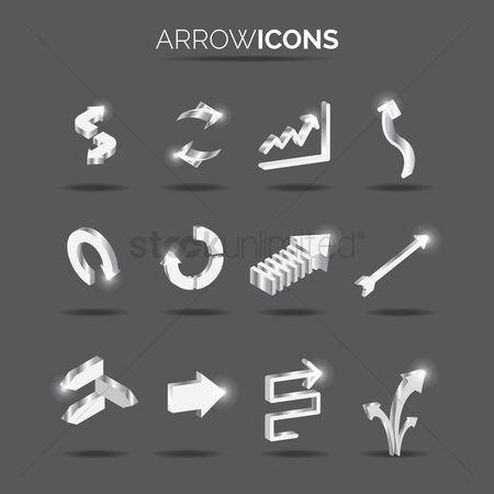 Zig zag : Set of arrow icons