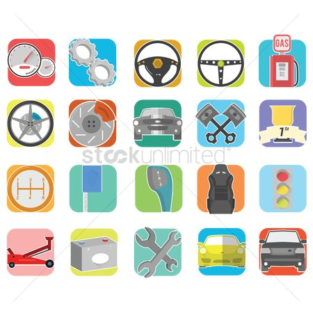 Car speedometer : Set of automobile icons