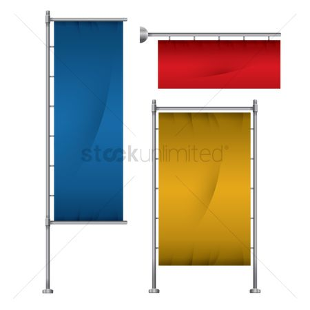 Signages : Set of banner flag stand