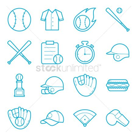 Hotdogs : Set of baseball items