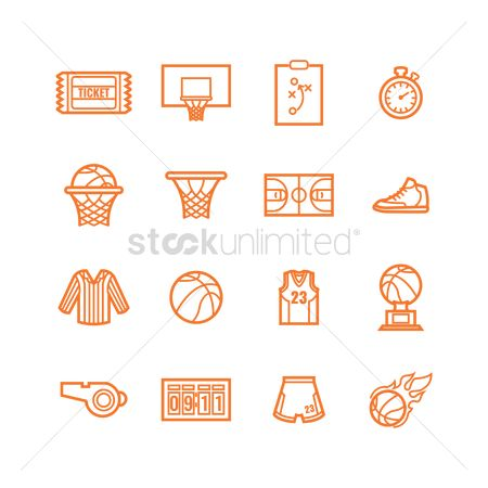 Indoor : Set of basketball icons