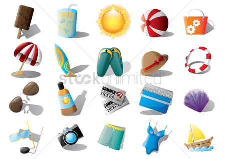 Seashore : Set of beach equipments