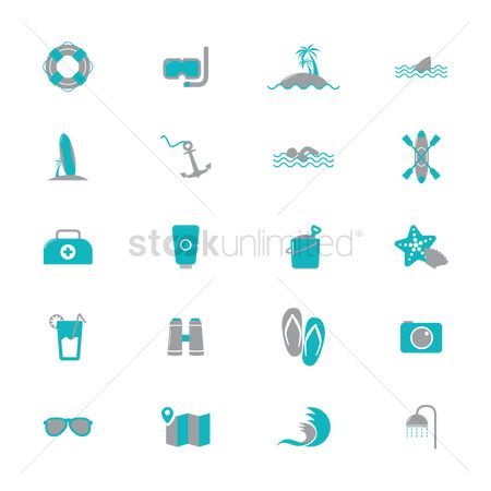 Paddle : Set of beach icons