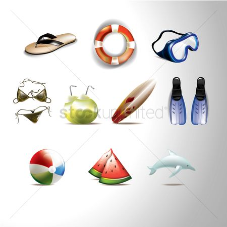 Watermelon : Set of beach icons