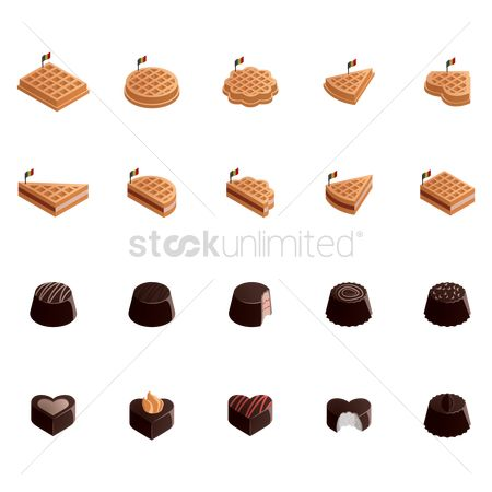 Belgium : Set of belgian waffles and chocolates