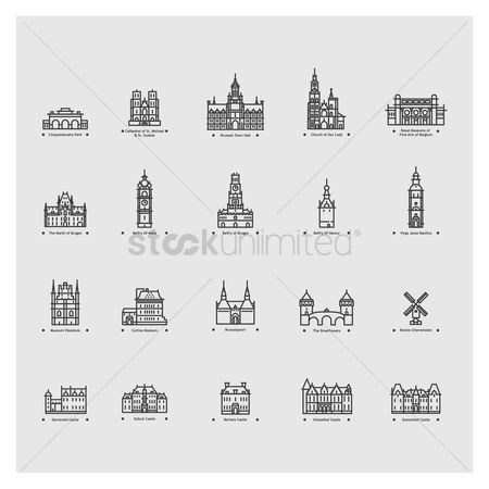 Museums : Set of belgium landmarks