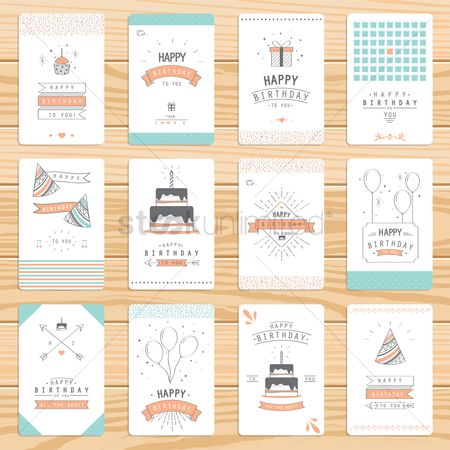 Greetings : Set of birthday greeting cards