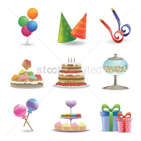 Boxes : Set of birthday icons