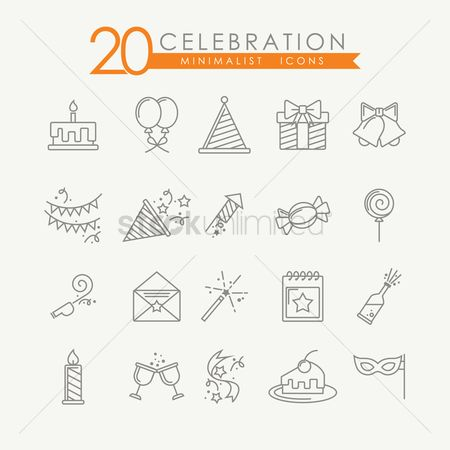 Confectionery : Set of birthday icons