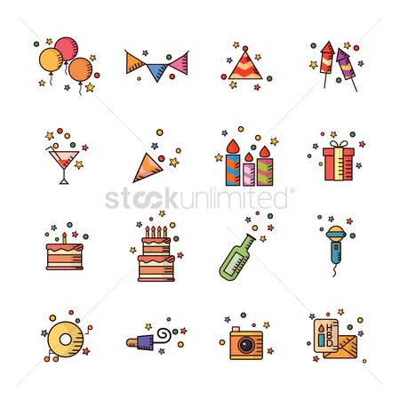 Microphones : Set of birthday icons