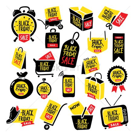 Trolley : Set of black friday sale icons