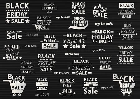 Shopping background : Set of black friday sale icons