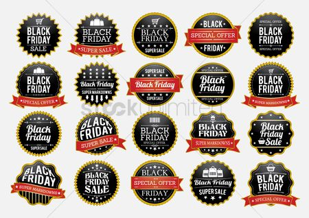 Black friday : Set of black friday sale stickers and labels