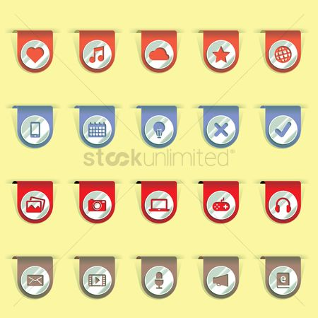 Volume : Set of bookmark clip icons