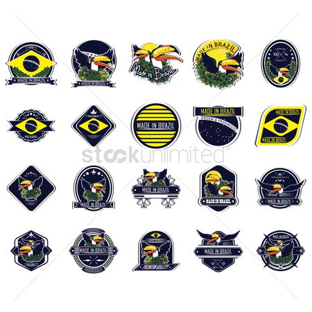 Toco toucan : Set of brazil labels