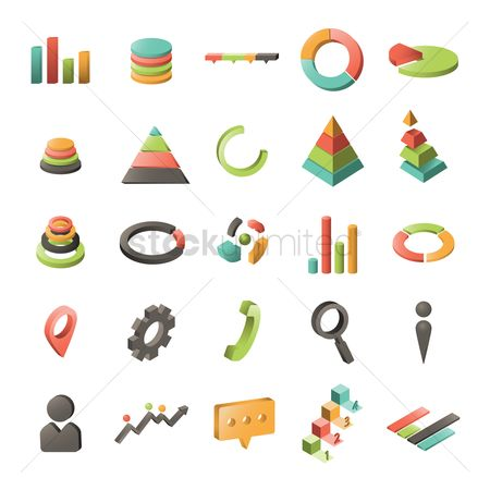 Profits : Set of business charts icons