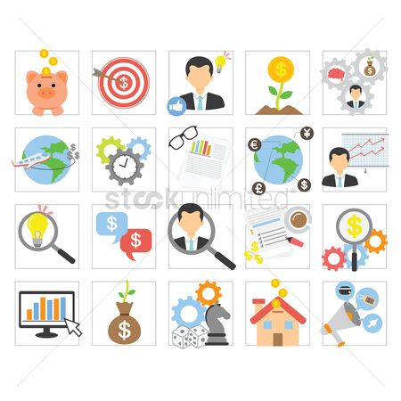 Touring : Set of business concept icons