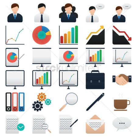 Communication : Set of business elements icon