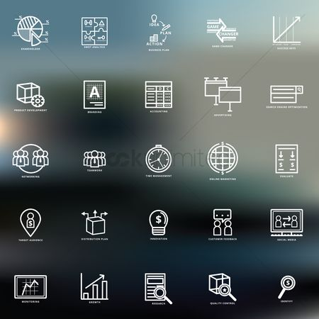 Researching : Set of business strategy icons