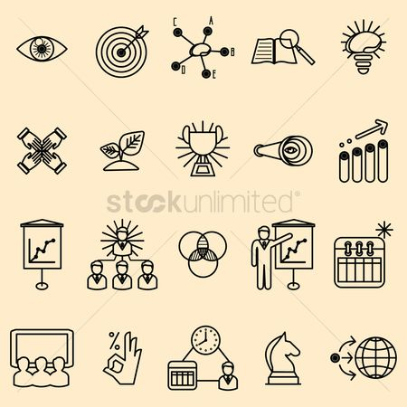 Leadership : Set of business strategy icons