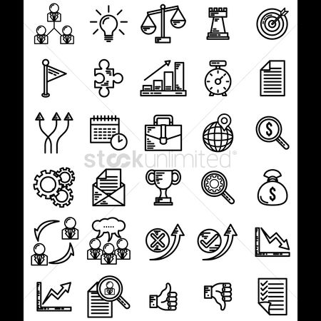 Work : Set of business strategy icons